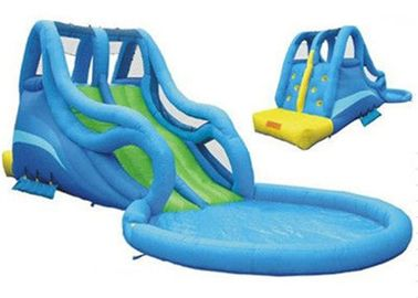 Blue Kidwise Inflatable Water Slide And Pool / Inflatable Outdoor Water Slide
