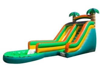Green Palm Tree Inflatable Water Slides / Inflatable Backyard Water Slide