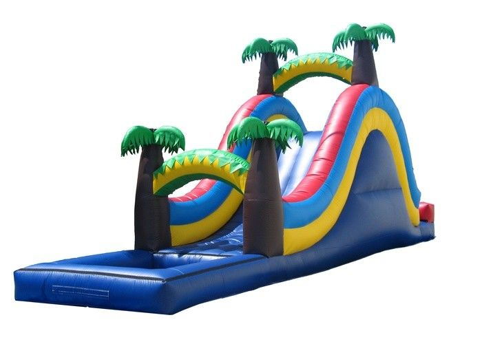 Wonderful Palm Tree Inflatable Wet Slide For Small Kids / Fun Water Slide